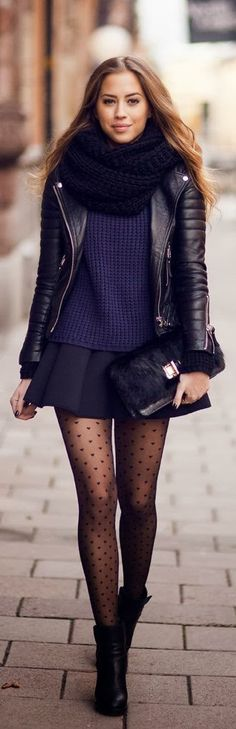 Evening out outfit, with #leather #motojacket