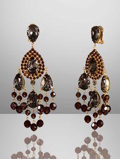 Ralph Lauren Clear Crytal Multi-Drop Chandelier Earrings