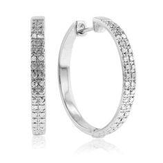 1/4 Carat Diamond Hoop Earrings in Sterling Silver