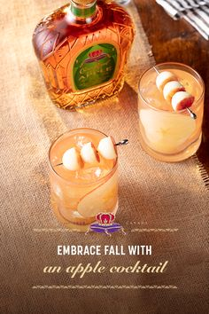 Embrace the flavors of fall with a round of Apple Bombs. RECIPE: 1.5 oz. Crown Royal Regal Apple, 3 oz. pineapple juice, 1 oz. cranberry juice, and apple balls. Add Crown Royal Regal Apple to and ice-filled rocks glass. Top with cranberry and pineapple juice and store. Garnish with a stick of three apple balls.