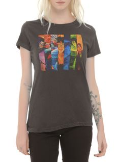 Fitted grey tee from Harry Potter with a seven books collage style design on front.