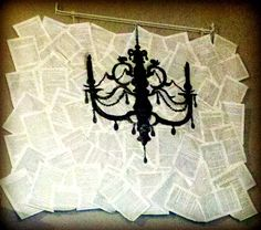 Inexpensive, elegant DIY wall art :)  I took apart pages from a paperback compilation of Jane Austen's novels & modge-podged them together on a styrofoam board. The chandelier was an after thought that I free-drew using charcoal. The hanging bar w/clips came from IKEA. All in all, this project took me under 2 hours and I now have brand new wall art to admire in my living room!