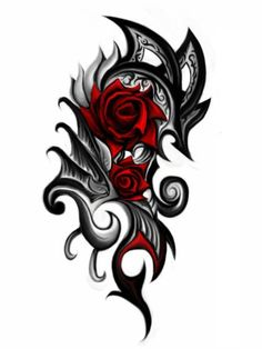 Black And Red 3D Gothic Roses Tattoo Design