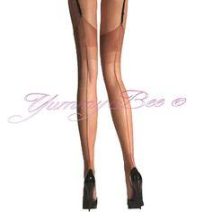 Yummy Bee Stockings Suspender Women Hold Ups Sheer Fish Net Fancy Dress XL Seam