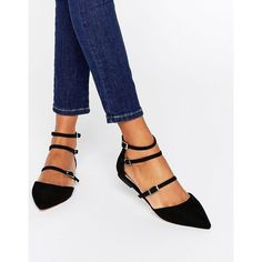 Faith Triple Strap Flat Shoes featuring polyvore, women's fashion, shoes, flats, black, pointy toe flats, black strap shoes, black flat shoes, pointed toe shoes and black pointed toe flats