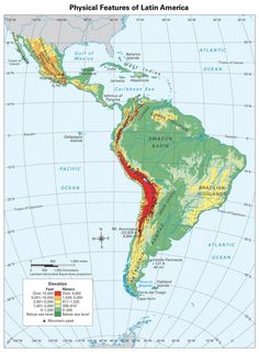 Latin America physical map | Latin America | America, South america ...