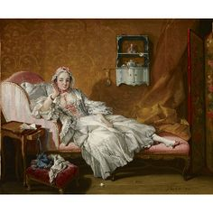 François Boucher, 1742 - A Lady on Her Day Bed. The model was his wife, Marie-Jeanne Buzeau (1716-1786)