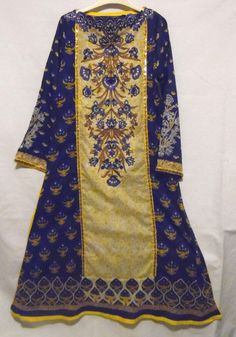 Women's 3 Piece Blue and Gold Embroidered Shalwar Kameez with Matching Dupatta #AlkaramStudio #Dupatta