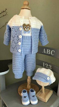 Boy Crochet Patterns, Basic Crochet Stitches, Baby Patterns, Crochet Bebe, Crochet For Boys, Christening Outfit, Sport Weight Yarn, Baby Boy Blankets, Crochet Baby Clothes