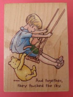 Classic Winnie The Pooh Touch The Sky Disney Cartoon Character Rubber Stamp | eBay