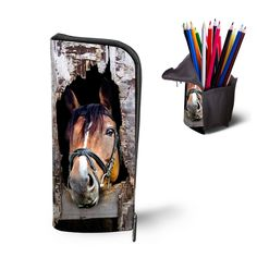 Portable Multifunctional Women Girls Cosmetic Bag Zipper Make Up Bag 3D Animal Horse Printing Storage Bag Foldable Pencil Bag