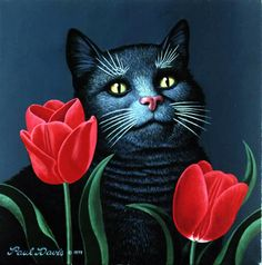 "Paul Davis ""Cat with Tulips""  1979, acrylic on canvas, 30.5 x 30.5 cm"