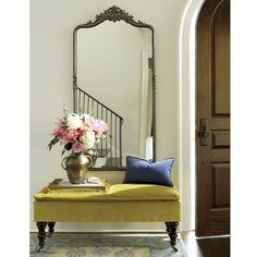 Old world glamour is reflected in every detail of our Beaudry Mirror. Perfect for an entry or above a vanity. Surrounded in a beaded frame of hand-forged iron with flowing corner scrolls and elegant shell crest. Beaudry Mirror features: Pair above double sinks