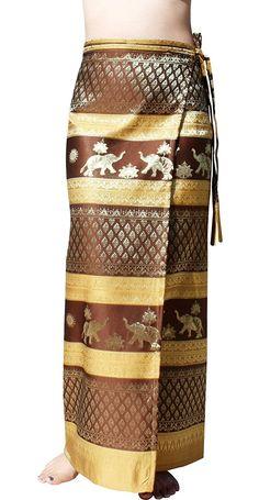Women's Clothing, Skirts, Brand Full Star Line Motif Thailand Silk Wrap Skirt Thai Formal Sarong - Brown - Yellow -