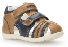 Geox Kaytan Caramel Navy Sandals - Geox Kids Shoes - Little Wanderers