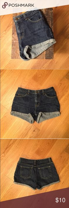 Vintage High Rise Dark Indigo Shorts Super cute high rise vintage denim shorts. Tag says size 4, but fit more like a 2 as they are quite snug and short. Perfect summer staple, paired with a crop top and sneakers. Purchased from a vintage store, but in excellent used condition with no damage. 100% cotton and can be worn cuffed or not. The Limited Shorts Jean Shorts