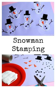 Snowman Crafts for Preschoolers. Snowman Stamping. Winter Crafts for Kids.