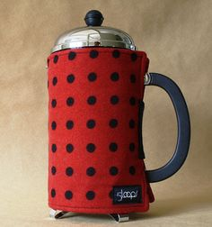 French Press Coffee Pot Cozy Red & Black Polka Dot by 5 Loops on Etsy