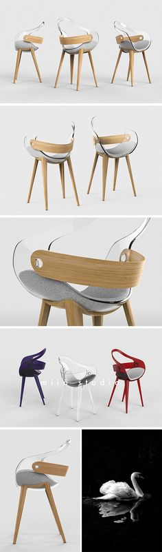 The Swan Chair takes elegant inspiration from the creature of the same name. Though contemporary in construction, its atomic legs give it a familiar mid-century feel. It's not so far out that it won't fit in with the rest of an eclectic collection of furniture pieces. Unlike other designs with a full back, it offers support only for the essential lumbar and dorsi muscles.