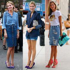 Marina Larroude é total denim, saia jeans com t-shirt e camisa vai sempre bem com salto.