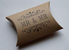 Mr  Mr Civil Partnership/ Gay Wedding Favors Pillow Boxes x 10 Brown Kraft/White Kraft on Etsy, $10.00