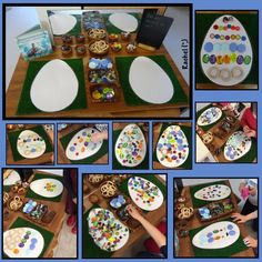"Decorating laminated eggs with loose parts - from Rachel ("",)"