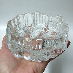 Iittala TAPIO WIRKKALA Seita vintage glass bowl/ashtray/dish Finland 70s retro