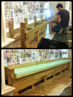 Repurposing old pallets into a bench seat for the cafe.
