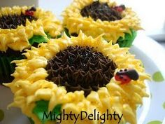 Sunflower cupcakes with a little ladybug!