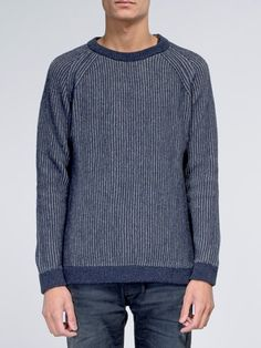 Aron Two Color Knit Navy - Nudie Jeans Online Shop