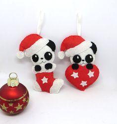 Lot de deux decorations de Noel panda, panda kawaii, deco noel, decoration de noel, boule de noel, decoration en feutrine, decoration sapin