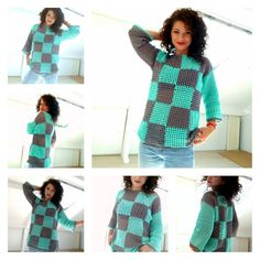 Ravelry: Plaid Summer Sweater pattern by By Katerina Crochet Summer Tops, Crochet Tops, Free Crochet, Crochet Baby, Crochet Bodycon Dresses, Summer Sweaters, Crochet Woman, Crochet Poncho, Crochet Fashion