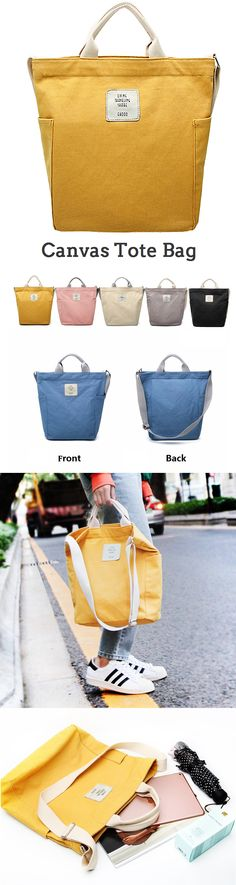 $25.29 USD Sale!Shop Now! Women's New Large Canvas Messenger Bag Tote Bag in 2018. Yellow,Pink,Blue,Black,Gray and Beige Colors for Options.#bag#fashion
