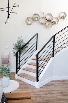 In this tutorial, I will show you how we transformed our old dark staircase, into a bright open statement piece. In this tutorial, I will show you how we transformed our old dark staircase, into a bright open statement piece. Dark Staircase, Staircase Railings, Stairways, Staircase To Basement, Staircase With Landing, Modern Railings For Stairs, Metal Handrails For Stairs, Staircase Banister Ideas, Decorating Staircase