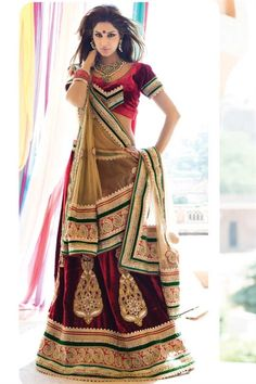 Red velvet lehenga choli giving amazing look