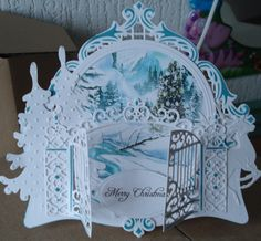 kerstkaart, wish I knew who the artist of this card was, gorgeous use of stamps and dies