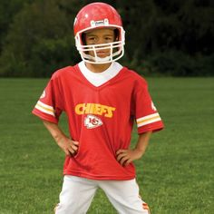 NFL® Deluxe Uniform Set - Kansas City Chiefs - Your little football fan can look like a real gridiron warrior wearing this official NFL® uniform set! Included is an official home team jersey, team helmet with authentic logo and team colors and team pants that will have them looking ready to take the field. The set also includes iron-on numbers (0-9) for the back of the jersey. Makes a great Halloween costume! - See more at: http://franklinsports.com/shop/nfl-deluxe-uniform-set