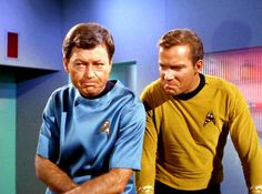 Bones and Kirk almost look like they're mimicking each other's expressions! BONES: Well, you look like this! *makes face* KIRK: Oh yeah? look like THIS! Star Trek 1966, Star Trek Tv, Star Wars, Star Trek Original Series, Star Trek Series, Spock And Kirk, Stark Trek, Star Trek Images, Star Trek Characters