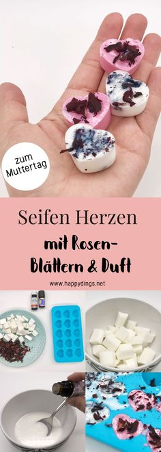 Muttertagsgeschenk selber machen – Seifen Herzen mit Rosenduft zum Muttertag Make soap yourself. Sweet DIY gift ideas for Mother's Day, it's so easy to make yourself a Mother's Day gift. Simple recipe for soap with roses fragrance. Diy Presents, Diy Gifts, Best Gifts, Mother Gifts, Fathers Day Gifts, Cadeau Couple, Hearts And Roses, Birth Gift, Mother's Day Diy