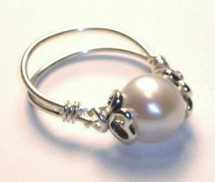 Purity Pearl Ring Heart Bead Caps Sterling Silver by LaurenKusar, $32.00