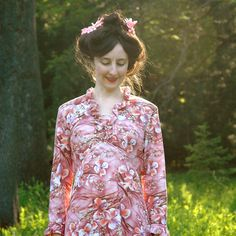 1970s Floral Maxidress// Pink 70s Maxi Dress// Vintage Fashion// by AstralBoutique, $28.00