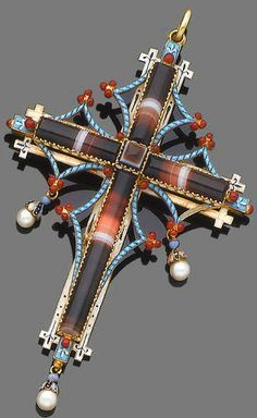 A polychrome enamel and agate pendant, circa 1900 The banded agate cross, set within an openwork surround of white and sky blue enamel, each terminal with red enamel, beaded and trefoil detail, all within closed-back settings, suspending three pearl drops, the reverse with a glazed compartment, some enamel damaged, pearls remain untested, length 10.7cm., fitted case