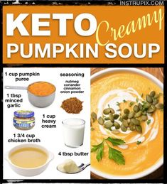 Low Carb Creamy Pumpkin Soup Recipe This keto creamy pumpkin soup is absolutely amazing! It's the perfect fall soup for all of you low carbers. Quick and easy, too! Low Carb Keto, Low Carb Recipes, Soup Recipes, Healthy Recipes, Chili Recipes, Smoothie Recipes, Cheap Clean Eating, Clean Eating Snacks, Creamy Pumpkin Soup