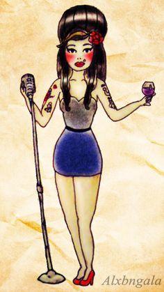 """AMY WINEHOUSE"" by:Alejandra L Manriquez #tattoo #pinup #amywinehouse"