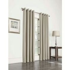 Allen + Roth L Blackout Striped Olive Thermal Grommet Window Window Curtain  Panel
