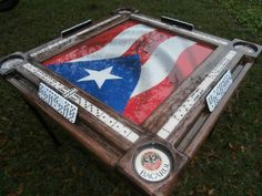 Domino Tables by Art with Puerto Rican Flag and Your Name! Domino Tables by Art with Puerto Rican Fl Domino Table, Puerto Rican Flag, Puerto Rico History, Puerto Rican Culture, Puerto Rican Recipes, Backyard Games, Puerto Ricans, Table Games, Home
