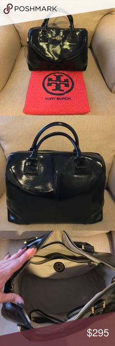 Tory Butch Robinson Black Patent Satchel Black Patent Tory Burch Top Handle Satchel. In excellent condition; matching cross body strap; inside pockets; signature gold Tory Logo; original dust bag; inside has some sight of use; unused & kept in dust bag for 2 years. Tory Burch Bags Satchels