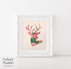 Deer Art Print, Deer Silhouette Printable Wall Art, Rustic Home Decor, Statement Poster, Watercolor Print, Girly Bedroom Decor by enchantedprintables on Etsy https://www.etsy.com/listing/212286883/deer-art-print-deer-silhouette-printable