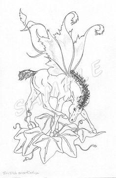 Art: coloring book fairy horse Ivy vine
