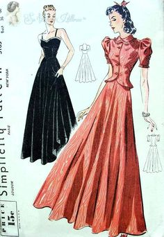 Stunning Evening Gown and Jacket Pattern Sculptured Bodice Sweetheart NecklineVery Full Dancing Skirt Simplicity 3163 Vintage Sewing Pattern Factory Folded Bust 36 Dress Making Patterns, Vintage Dress Patterns, Clothing Patterns, Vintage Outfits, Vintage Dresses, Vintage Clothing, 1930s Fashion, Vintage Fashion, Ufc